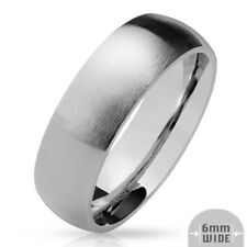 316L Stainless Steel 6mm Matte Finish Comfort Fit Wedding Band Ring, Sizes 5-13