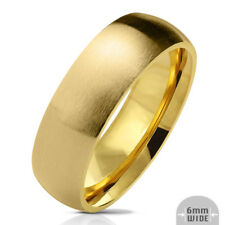 316L Stainless Steel Gold IP 6mm Matte Finish Comfort Fit Band Ring, Sizes 5-13