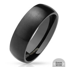 316L Stainless Steel Black IP 6mm Matte Finish Comfort Fit Band Ring, Sizes 5-13