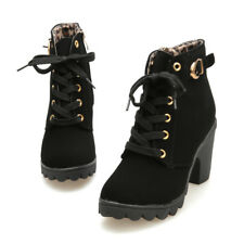 Women's Boots 2018 Fashion High Heel Lace Up Ankle Boots Ladies Buckle Platform