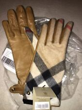 NEW Women Burberry Cashmere & Leather Gloves