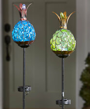 Solar Lighted Blown Glass Tropical Pineapple Outdoor Yard Garden Stake Decor