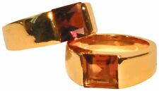 JOSEPH ESPOSITO, 14KT GOLD PLATE RING WITH AMETHYST OR TOPAZ CRYSTAL SQUARE C...