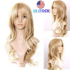 USA Lady Long Blonde Curly Hair Wig Synthetic Fluffy Wavy Full Wig Cosplay Party