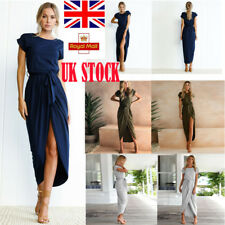 UK Womens Sundress Short Sleeve Gown Split Fitted Slim Summer Casual Maxi Dress