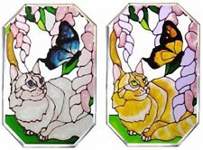 "Silver Creek Cat & Butterfly ~ 7"" X 10"" Hand Painted Art Glass Suncatcher"
