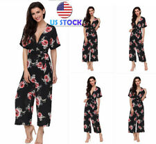 USA Women Casual Floral Short Sleeves Jumpsuits Rompers Playsuits Wide Leg Pants