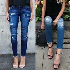 Women's Pencil Stretch Casual Denim Skinny Jeans Pants High Waist Slim Trousers