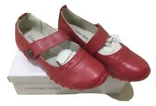 Womens Ladies Velcro Red Work Shoes Flat Comfort Shoes Ladies Size New In Box