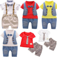 Toddler Kids Baby Boys Outfits Short Sleeve T-shirt+Pants Gentleman Clothes Set