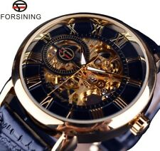 reloj hombre mecánico cuerda Forsining Skeleton men's leather band watch