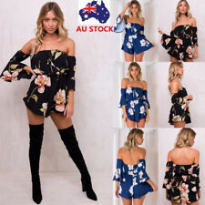 Women Floral Off Shoulder Flared Sleeve Backless Jumpsuit Playsuit Short Romper