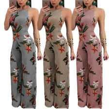 Womens Sexy Backless Striped Floral Printed Wide Leg Jumpsuit Romper Pants S-2XL