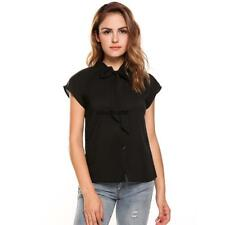 Women Casual Short Sleeve Bow Tie Neck Cap Sleeve Solid Loose Chiffon LKR8