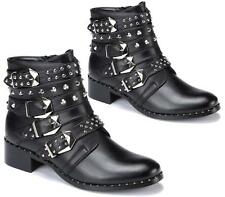LADIES WOMENS COMBAT MILITARY WORKER PUNK STYLE STRAPPY STUDS ZIP ANKLE BOOTS