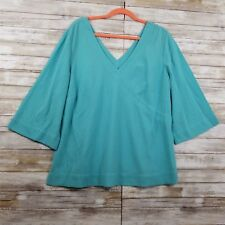 SOFT SURROUNDINGS XL Petite Blouse Top V-neck Crinkle Turquoise 3/4 Sleeve Rayon