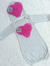 Sale! Baby Infant Heart Layette Baby Gown beanie Going home set newborn-3 months