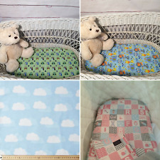 Bassinet Moses  Boori fitted sheets flannelette cotton green blue owl bedding