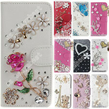 Wallet Leather Stand Case For SONY Bling Diamond Flip Cover Slot Stand Card Bag