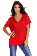 Women Slimming V-Neck Batwing Shirt Smocked Empire Waist Tunic Tee Blouse Top