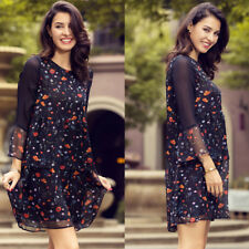 Summer Floral Print Women Dress Sexy Flare Sleeve Casual Ruffles Party Dress Hot