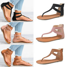 Women T-strap Flat Ankle Sandals Summer Casual Peep Toe Flip Flop Thong Shoes