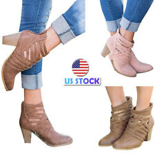 Women's Cross Strappy High Block Heel Zipper Ankle Boots Bootie Party Shoes Size