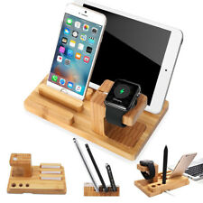 4 In 1 Desktop Wood Charge Dock Stand Holder For Apple Watch For IPhone For IPad