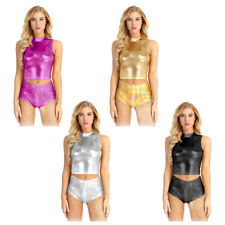 Women Sexy Wet Look Crop Top Metallic Mock Neck Turtleneck Tank Top Clubwear