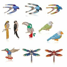 Animal Crystal Branch Bird Dragonfly Parrot Brooch Pin Decoration Dress Jewelry