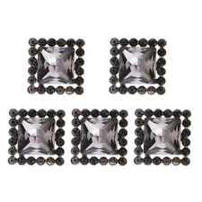 5Pcs Square Crystal Alloy Shank Buttons Craft Embellishments for Sewing 18mm
