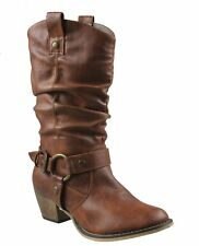 Women's Mid Calf Cowboy Boots Distressed Slouchy O-Ring Studded Pull on Block