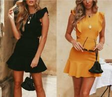Women Falbala Hem Sleeveless Backless Back Buckle Package Hips Solid Mini Dress