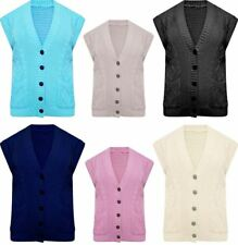 Womens Cable Knitted Sleeveless Button Pocket Cardigan Ladies Grandad Waistcoat