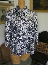 CHAPS Women's No Iron Shirt Blouse Easy Care Slimming Fit Blue Floral  1X  14