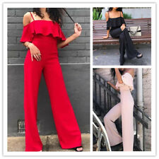 Women's Sexy Solid Spaghetti Strap Low-cut Falbala Ruffle Wide Leg Long Jumpsuit