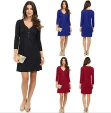 Women's Fashion Solid Deep V 3/4 Sleeve Button Drcro Pleated A-line Short Dress