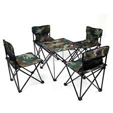 Hewolf Camping Picnic Fishing Folding Foldable Table and Chair Set Camouflage