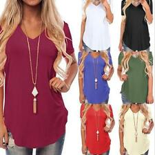 Women's Casual Loose Solid V Neck Short Sleeve Curve Hem Top T-shirt 10 Colors