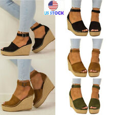 Women Peep Toe Ankle Strap 8cm High Heel Sandals Summer Casual Buckle Shoes Size
