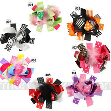 1PC Mixed Bowknot Feather Hair Band Accessories Handmade For Kid Girl 15x12cm