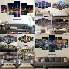New York City Night Painting 5p Canvas Print Poster Wall Art Picture Home Decor