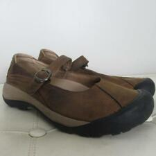 Womens KEEN brown leather sporty mary jane walking shoes loafers 10 VGUC