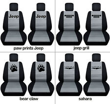 Fits JK wrangler  front car seat covers black-silver w claw, jeep grill, sahara