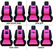 Fit JK wrangler  front car seat covers blk-hot pink  w/ jeep grill, sahara...