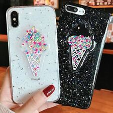 Lovely 3D Summer Ice Cream Phone Case For iPhone 6 6S 7 8 Plus X Shining Glitter