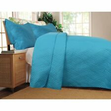 Turquoise Reversible Quilted Coverlet Bedspread Set