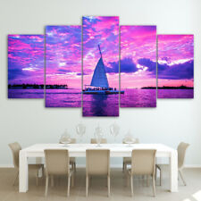 Sail Boat Sailing Red Sky Painting 5 Panel Canvas Print Wall Art Home Decor