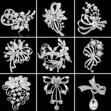 DIY Bouquet Silver Crystal Flower Leaves Brooch Pin Wedding Bridal Women Jewelry