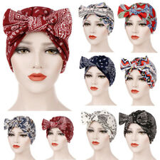 Women Bowknot Muslim Ruffle Cancer Chemo Hat Beanie Beading Turban Head Wrap CA